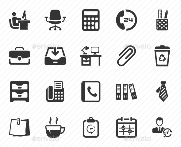Office Icons - Gray Version - Business Icons