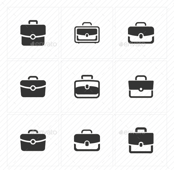 Office Bag Icons - Gray Version - Business Icons