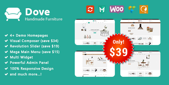 Image of Dove - Handmade Furniture Responsive WooCommerce WordPress Theme