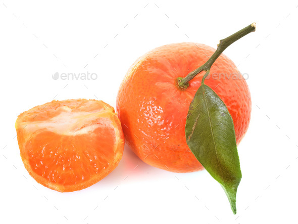 clementine with leaf - Stock Photo - Images
