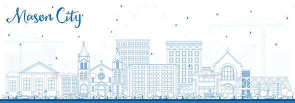 Outline Mason City Iowa Skyline with Blue Buildings. - Buildings Objects