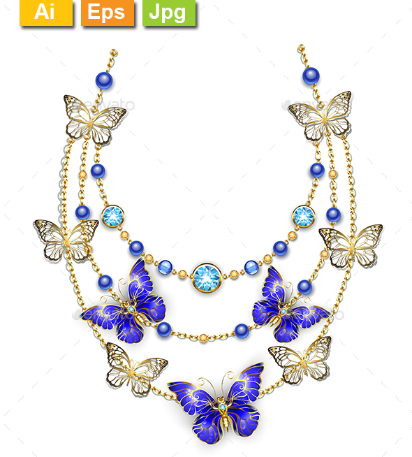 Necklace with Sapphire Butterflies - Man-made Objects Objects