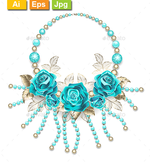 GraphicRiver Necklace with Turquoise Roses 20791569