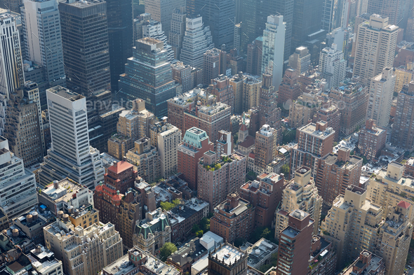 New York City aerial view with skyscrapers, sunlight and mist - Stock Photo - Images