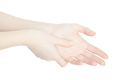 Woman hand touching with thumb the painful palm on white - PhotoDune Item for Sale