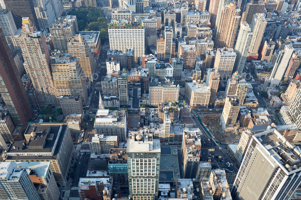 New York City, Manhattan aerial view with skyscrapers and fifth avenue - Stock Photo - Images