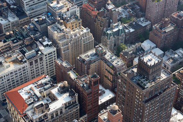 New York City Manhattan skyline aerial roof tops view - Stock Photo - Images