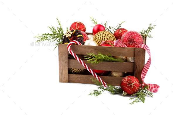 Christmas ornaments in a wooden crate - Stock Photo - Images
