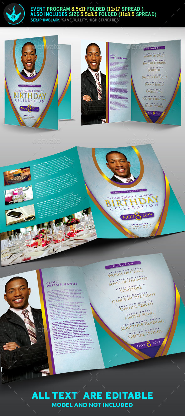 Royal Teal Pastor Birthday Party Program Template - Informational Brochures