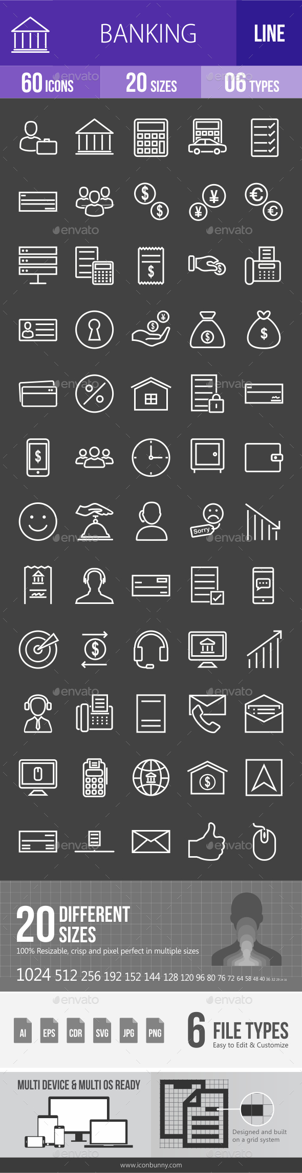 Banking Line Inverted Icons - Icons