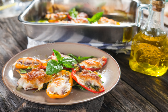 Stuffed peppers with sardines and mozzarella - Stock Photo - Images
