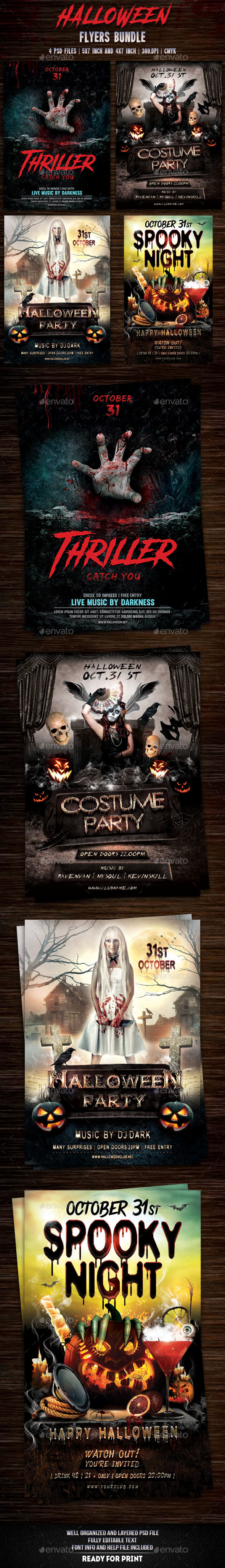 Halloween Flyers Bundle v3 - Flyers Print Templates