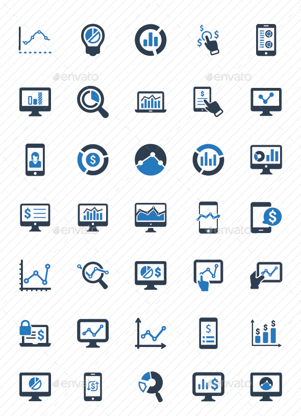 GraphicRiver Online Business Report Icons Blue Version 20792263