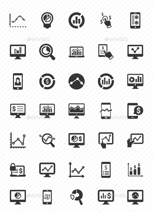 Online Business Report Icons - Gray Version - Business Icons
