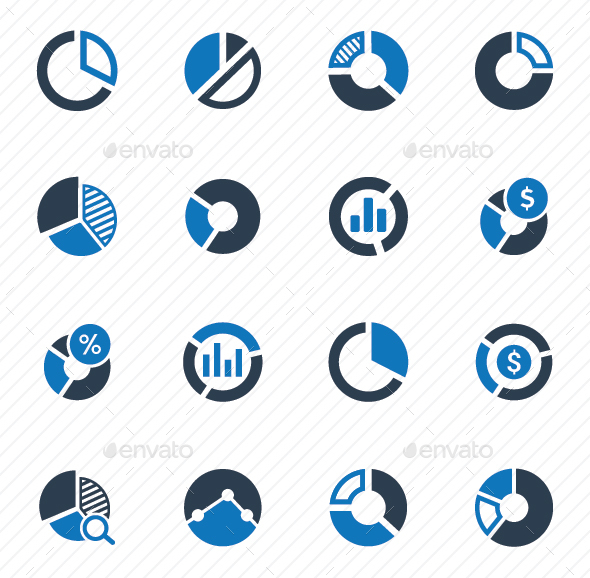 Pie Chart Icons - Blue Version - Business Icons