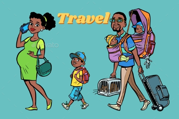 GraphicRiver African Family Travelers Mom Dad and Kids 20792340