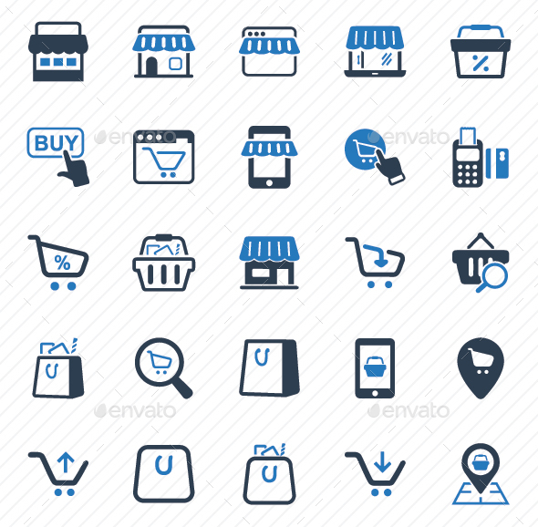 GraphicRiver Shopping Icons Blue Version 20792349