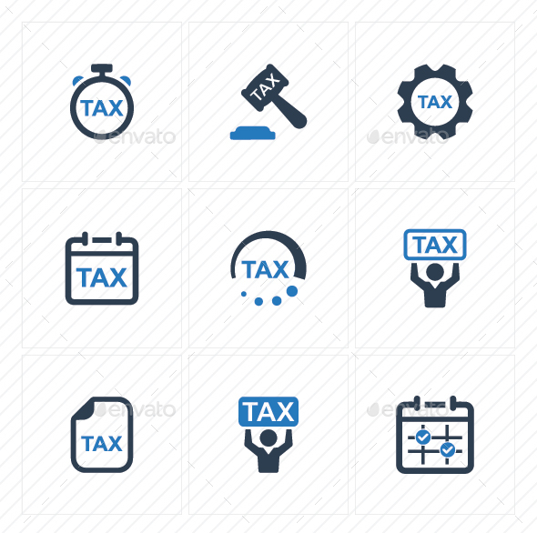 Tax Service Icons - Blue Version - Business Icons