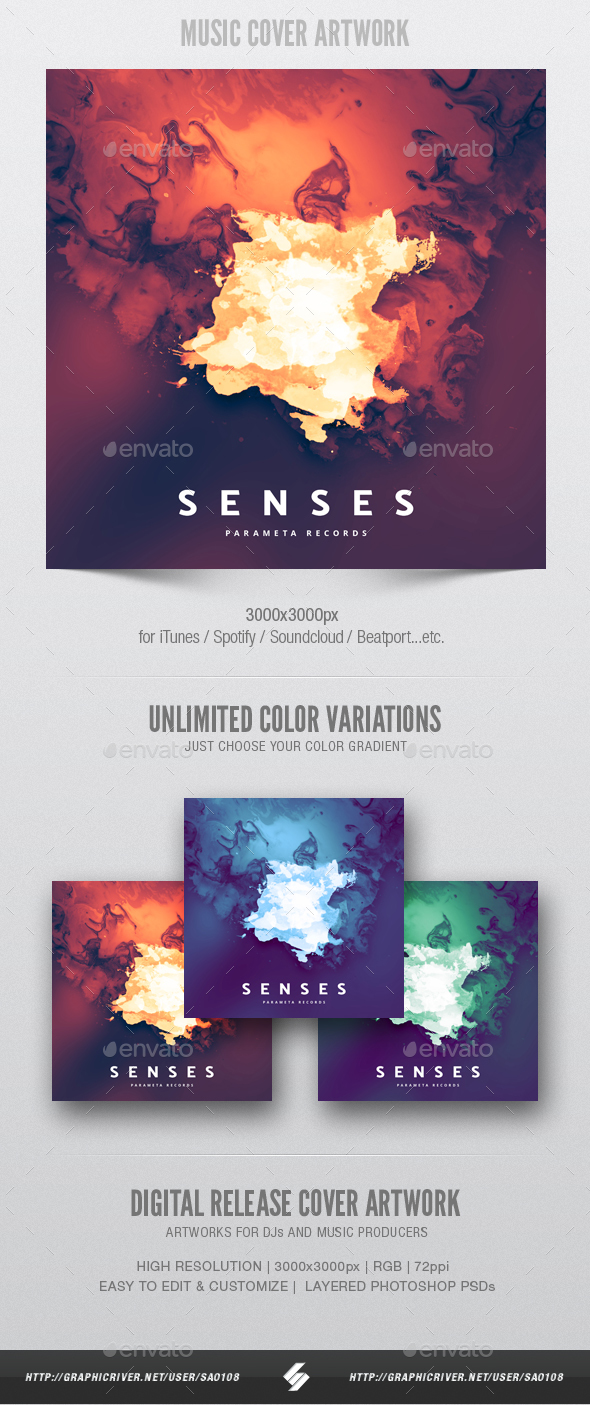 Senses - Music Album Cover Artwork Template - Miscellaneous Social Media