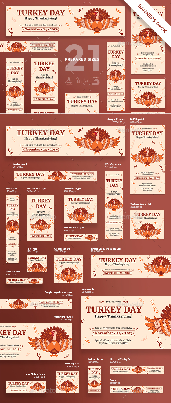 GraphicRiver Turkey Day Banner Pack 20792406