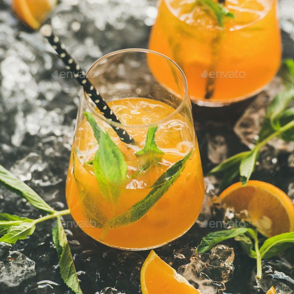 Refreshing cold alcoholic summer cocktail in glasses, square crop - Stock Photo - Images