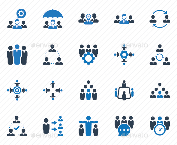 GraphicRiver Teamwork Icons Blue Version 20792443
