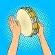 Hands with Tambourine Pop Art Vector Illustration