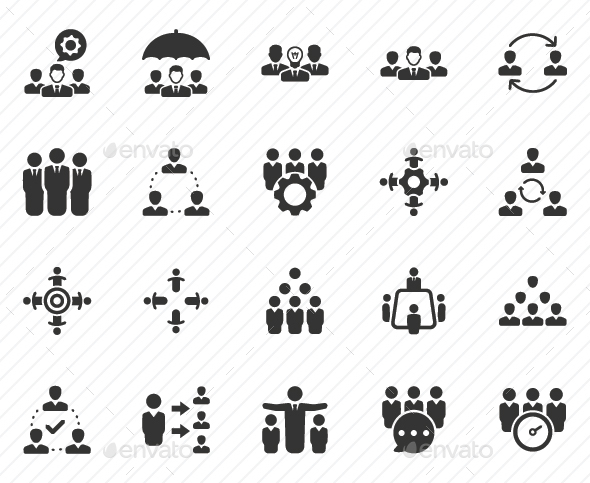 Teamwork Icons - Gray Version - Business Icons
