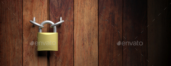 Padlock on wooden door background. 3d illustration - Stock Photo - Images
