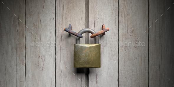 Padlock on wooden door background. 3d illustration - Stock Photo - Images