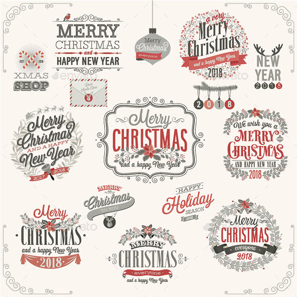 Christmas Set of Labels and Emblems - Christmas Seasons/Holidays