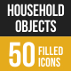 Household Objects  Filled Low Poly B/G Icons