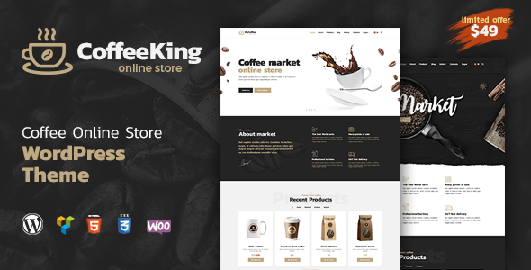 Coffee King - Coffee Shop, Coffee House and Online Store WordPress Theme - Food Retail