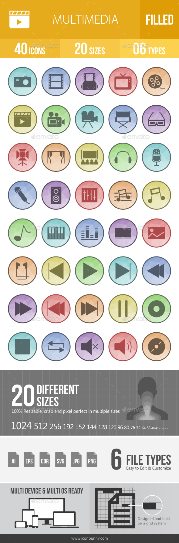 GraphicRiver Multimedia Filled Low Poly B G Icons 20792570
