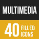 Multimedia  Filled Low Poly B/G Icons