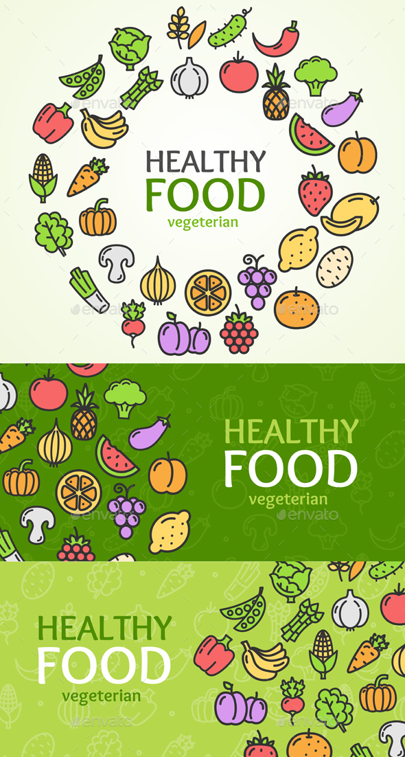 Healthy Foods Eco Shop Banner Set - Food Objects