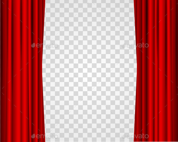 Realistic Red Opened Stage Curtains on a Transparent Background - Backgrounds Decorative
