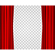 Realistic Red Opened Stage Curtains on a Transparent Background