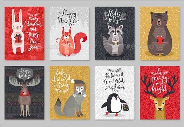 Christmas Animals Card Set - Christmas Seasons/Holidays