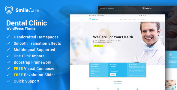 smilecare - medical & dentist wordpress theme (health & beauty) Smilecare – Medical & Dentist WordPress Theme (Health & Beauty) 1