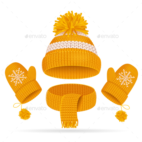 GraphicRiver Hat with a Pompom Scarf and Mitten Set 20792659
