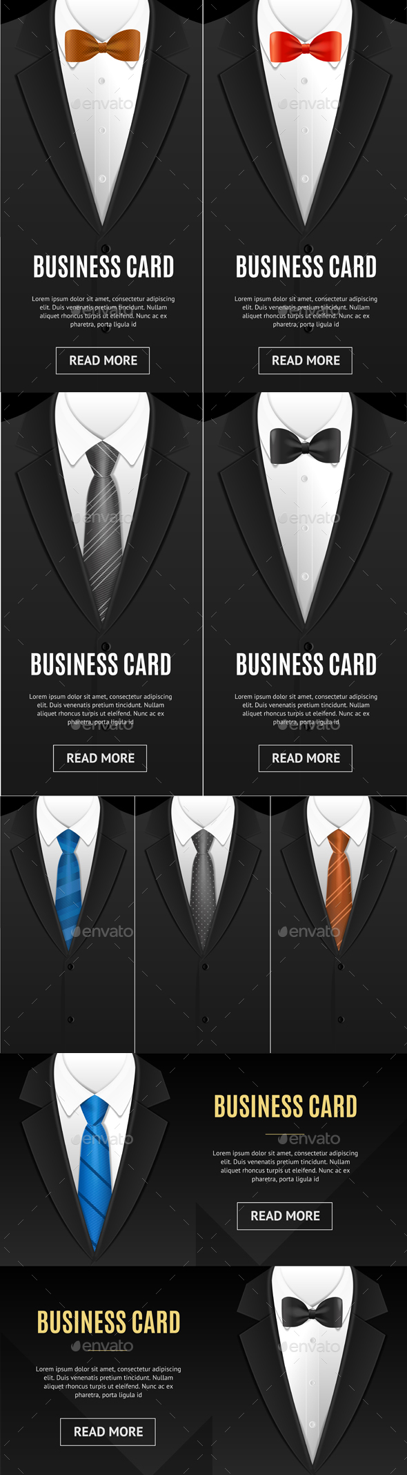 GraphicRiver Business Card Bow Tie and Necktie Set 20792707