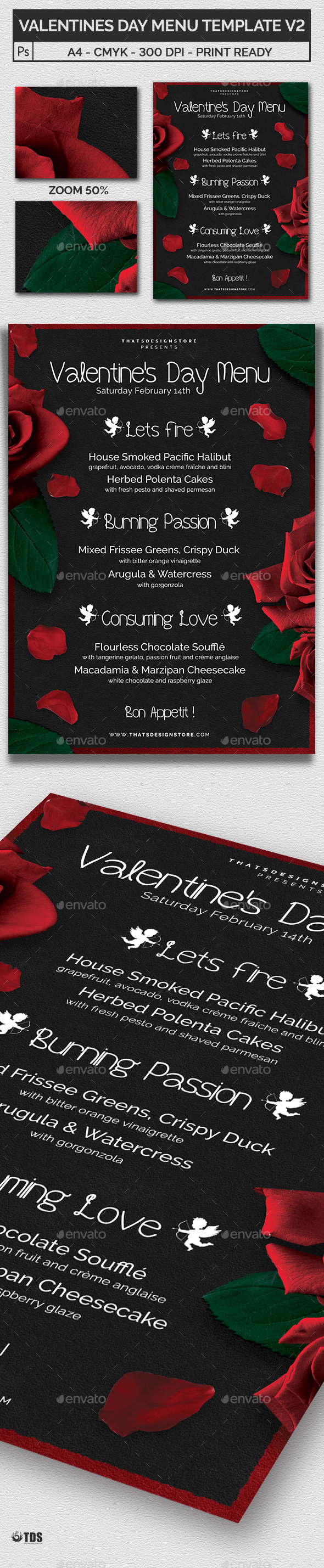 Valentines Day Menu Template V2 - Holidays Events