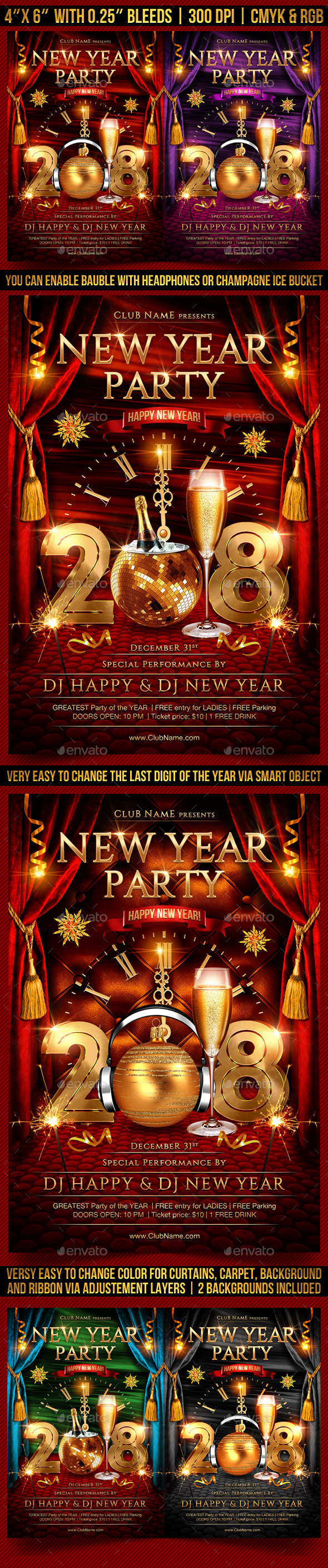 New Year Party Flyer Template - Clubs & Parties Events