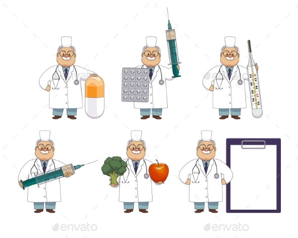 GraphicRiver Old Man Doctor with Huge Medical Objects 20792883