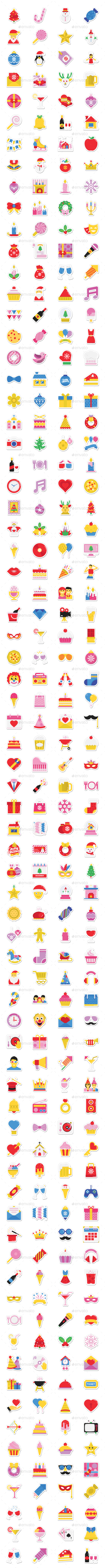 GraphicRiver 290 Party and Celebration Stickers 20792888