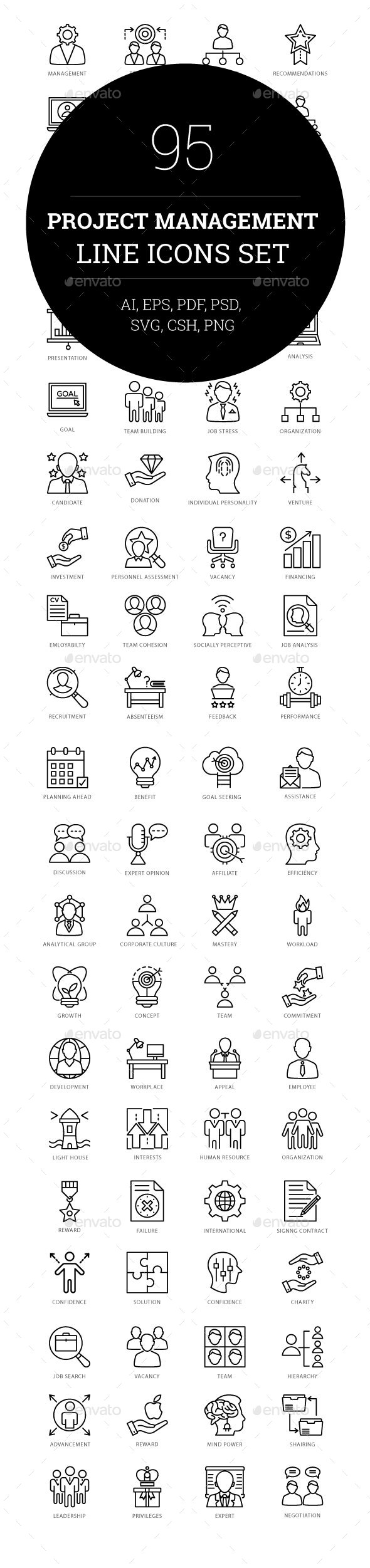 GraphicRiver 95 Project Management Line Icons 20792911