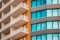 Orange and teal modern building facade