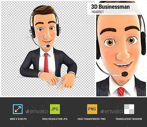 GraphicRiver 3D Businessman Headset Empty Wall 20793140