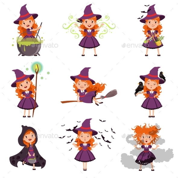 Little Girl Witch Set Wearing Purple Dress and Hat - People Characters